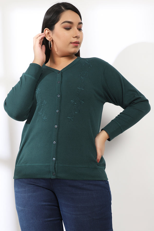 Embroidered Emerald Green Cardigan