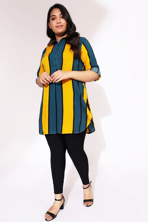Yellow Teal Stripe Longine Shirt