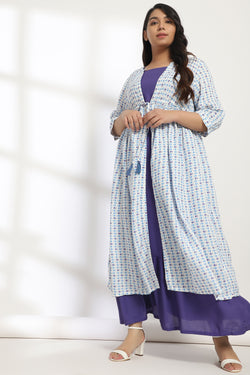 Blue White Motif Printed Drawstring Cape Shrug With Inner