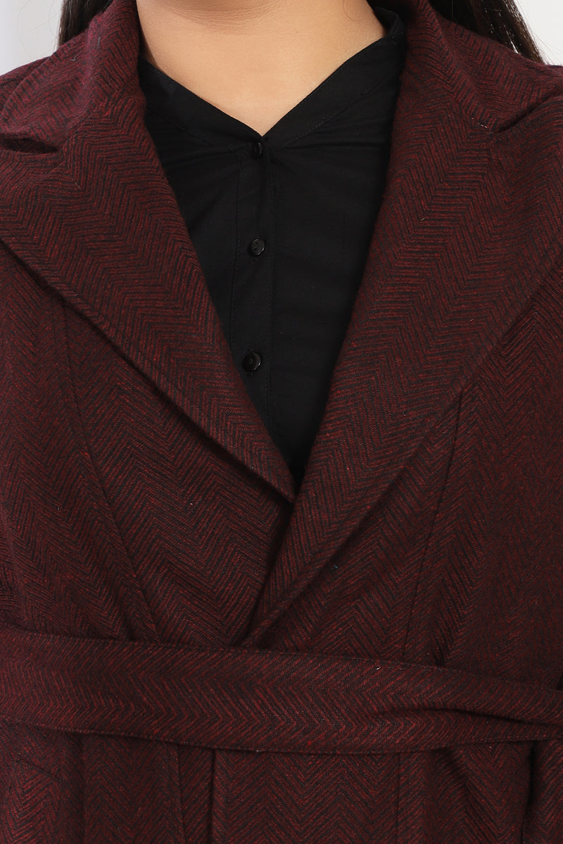 Maroon Sleeveless Autumn Jacket