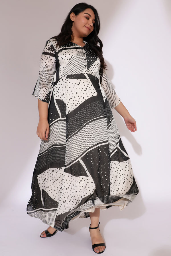 White Black Printed Satin Chiffon Dress