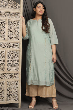 Menthe Green Princess Seam Embellished Chanderi Kurti