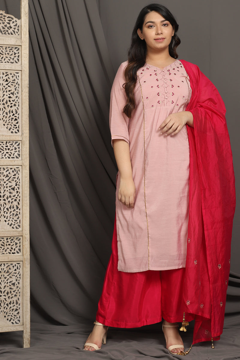 Apricot Chanderi Three Piece Suit Set