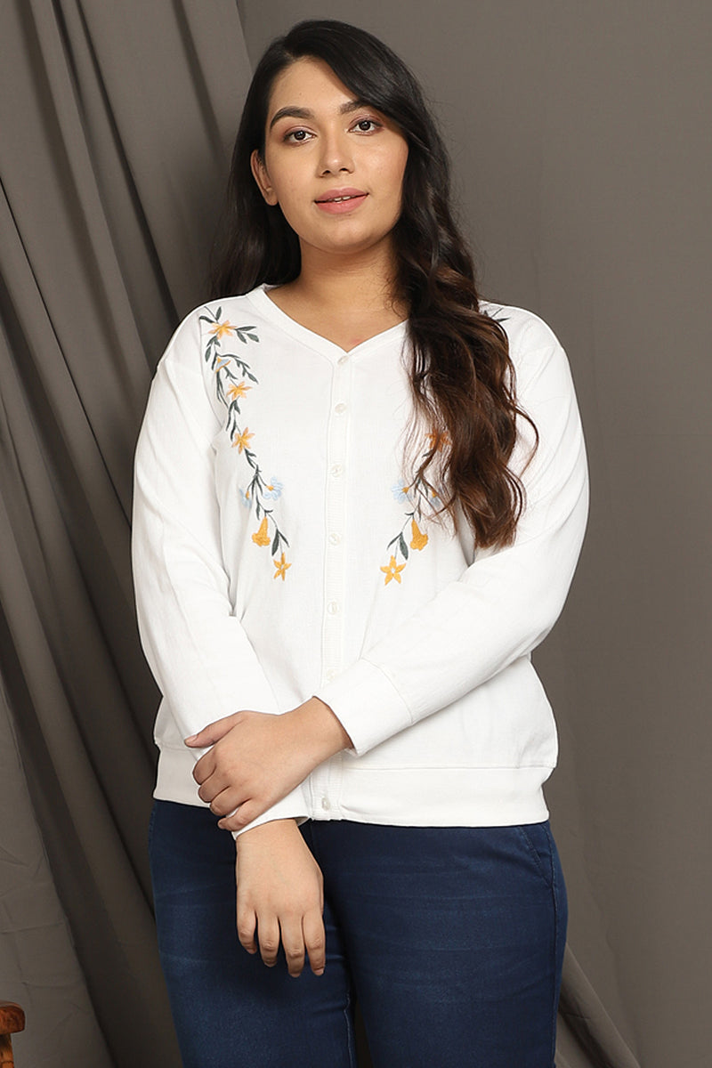 White Embroidered Cardigan