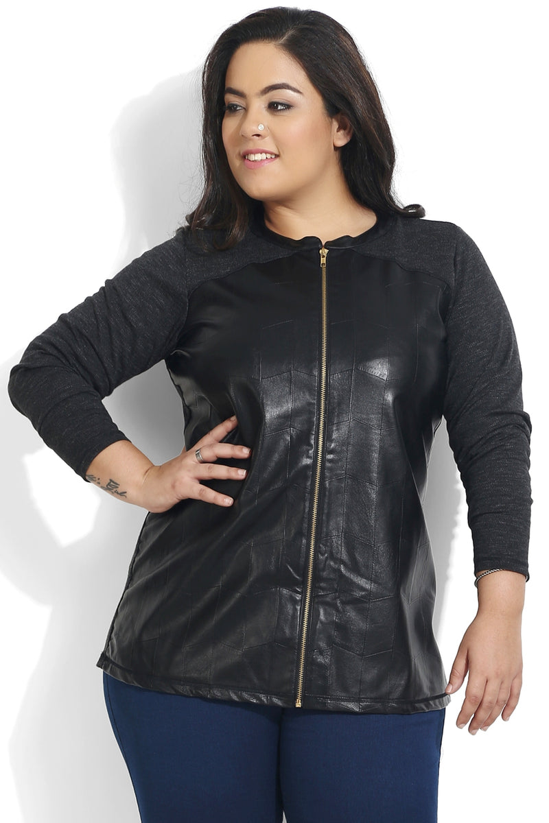 Black Leather Detailing Zipper Sweatshirt