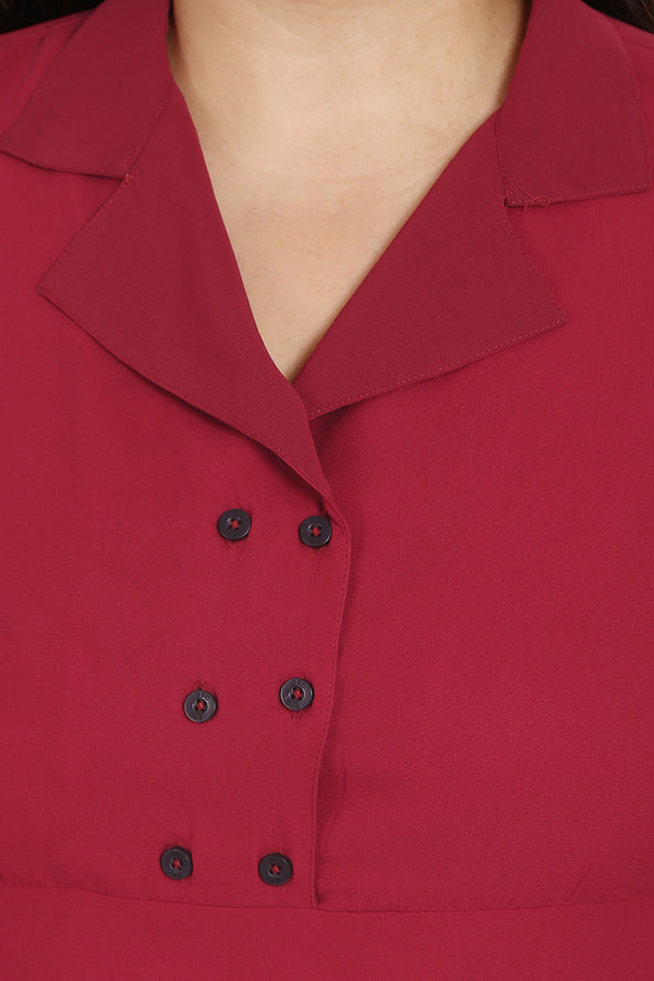 Chilly Red Lapel Collar Button Detail Dress