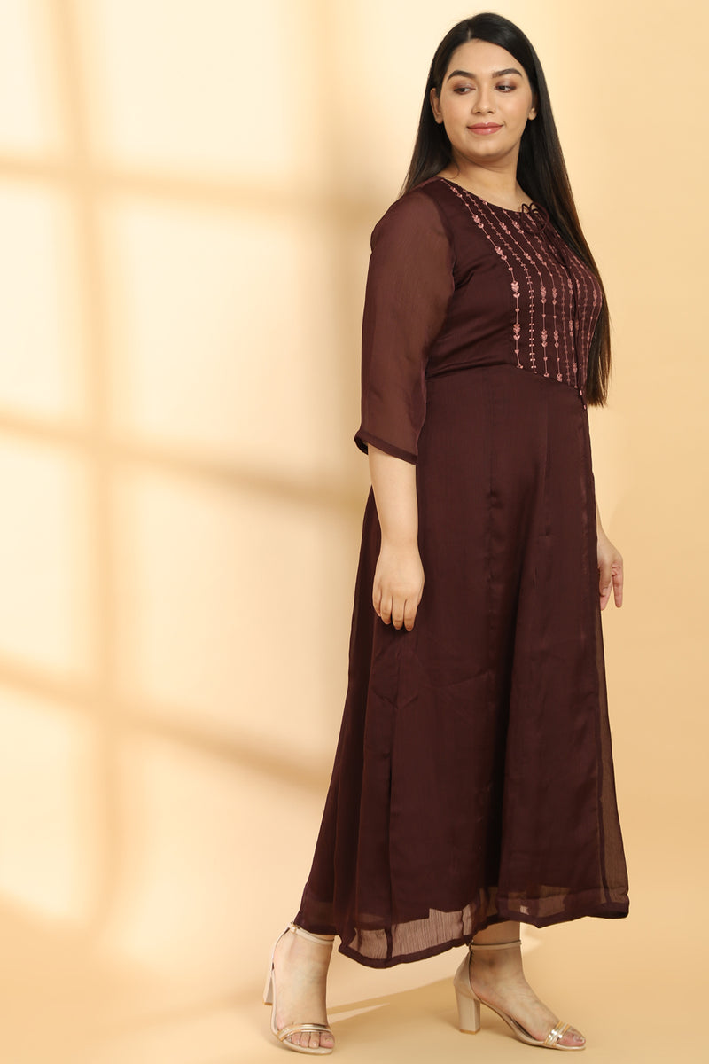 Plum Embroidered Gown