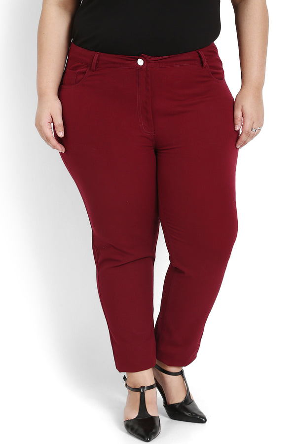 Maroon Stretch Pants