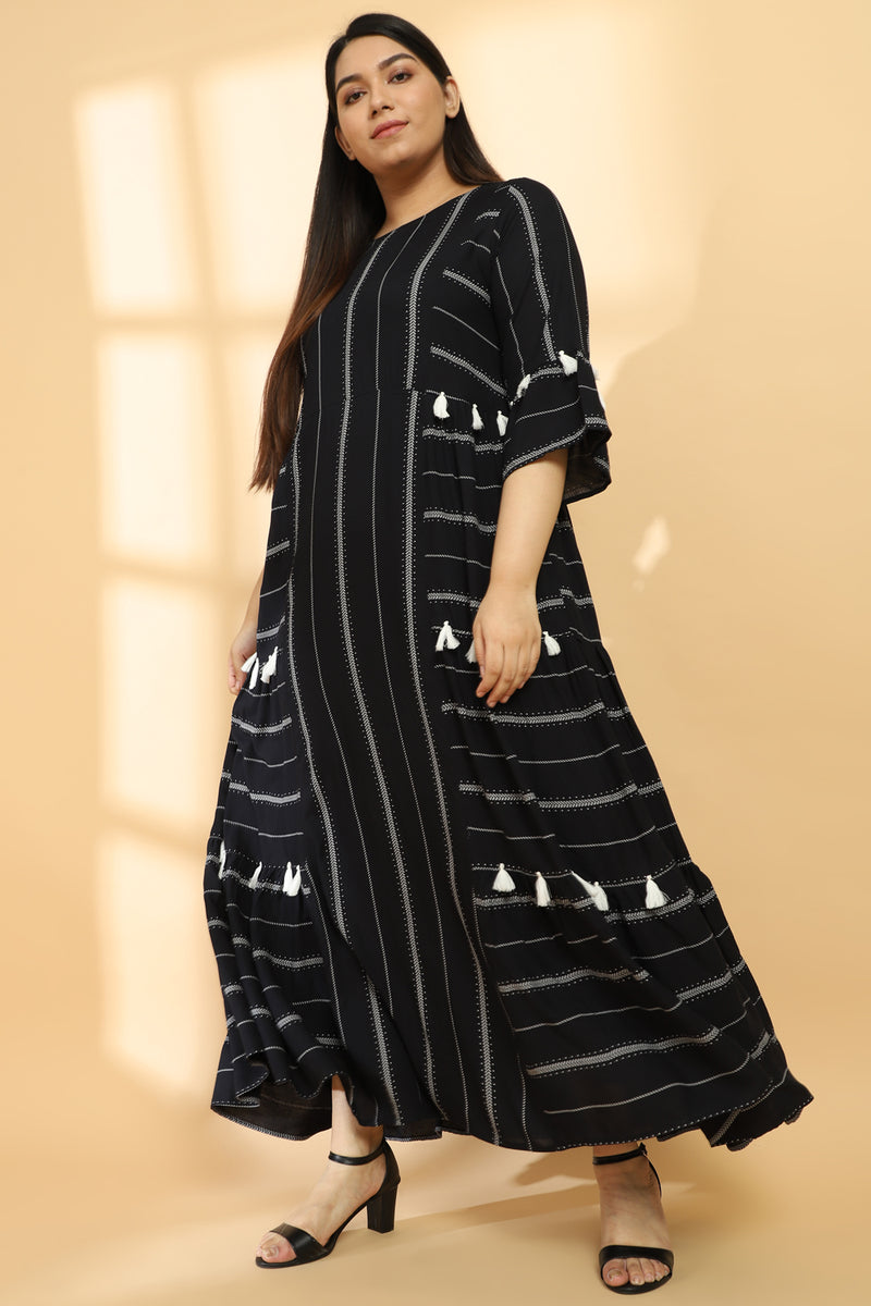 Black Printed Tiered Dress