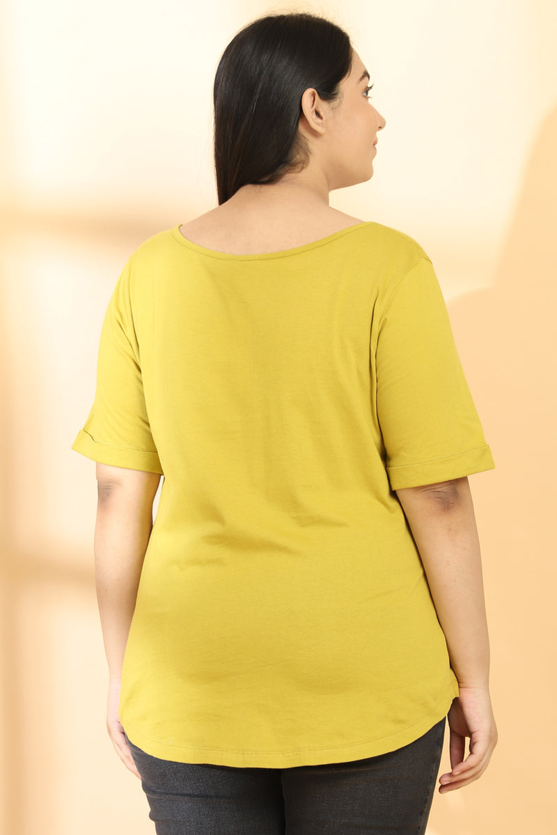 Lemon Mustard Embroidered TShirt