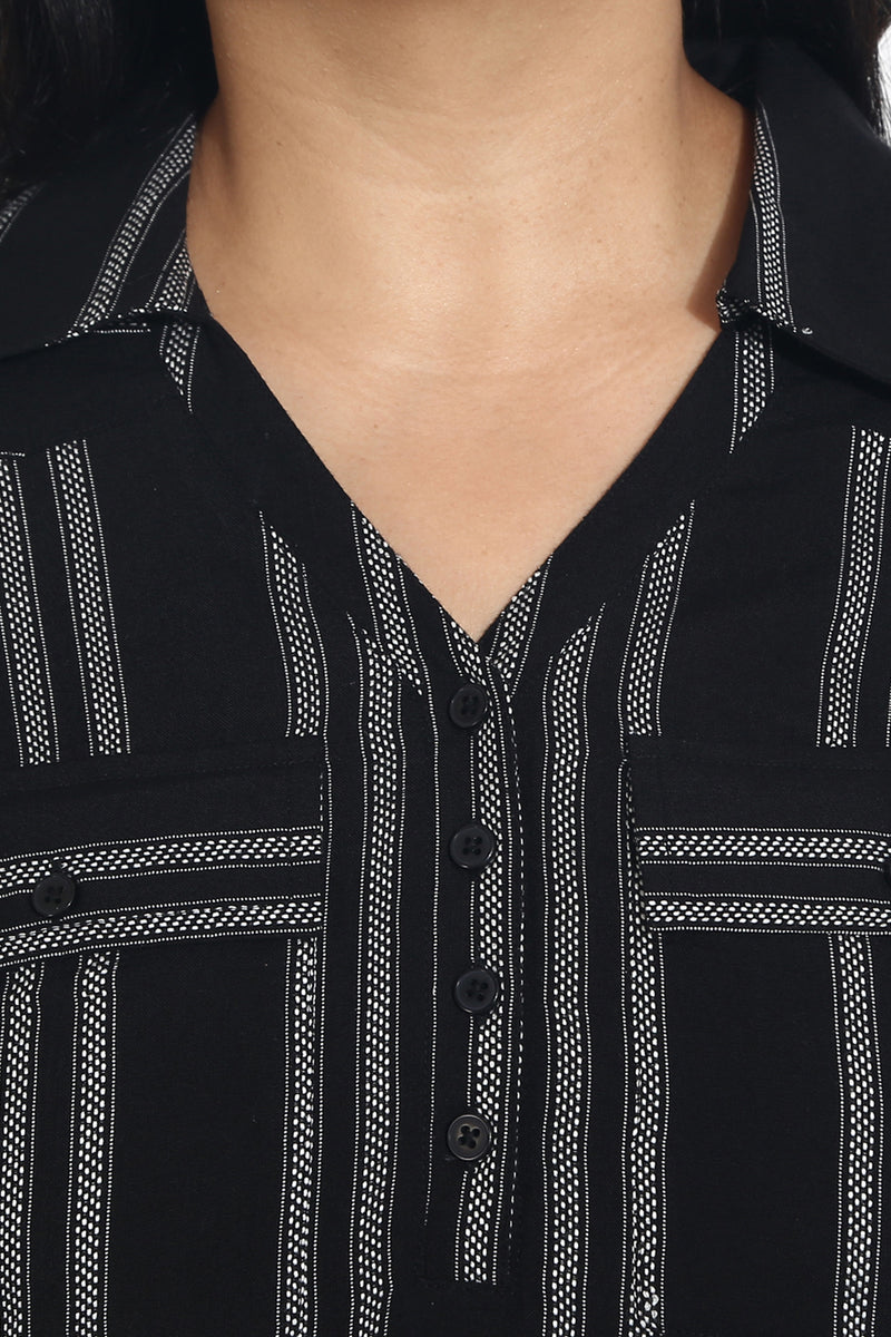Black Striped Pocket Detail Shirt Tunic