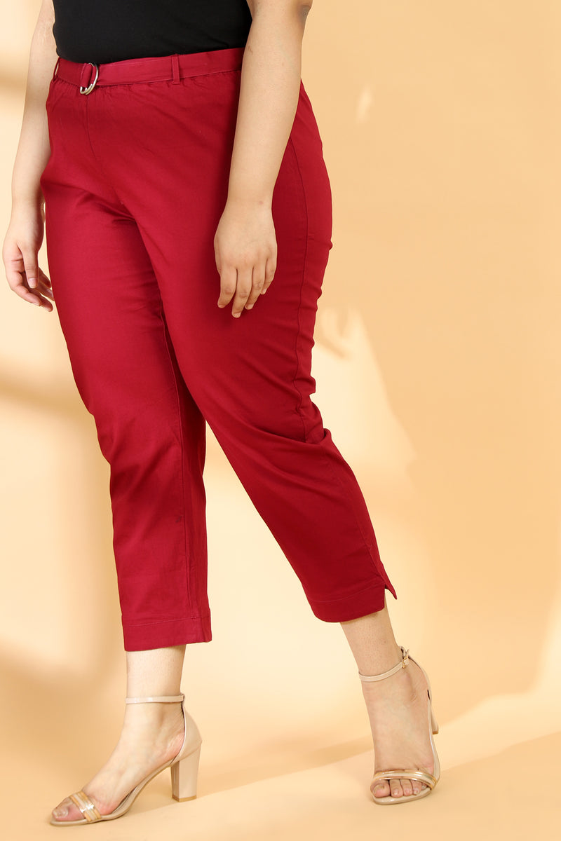 Maroon Stretchable Relax Trousers