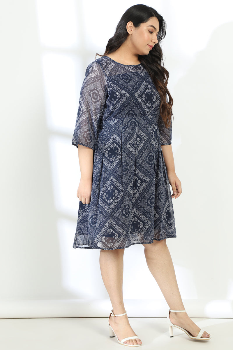 Blue Printed Fit Flare Dress