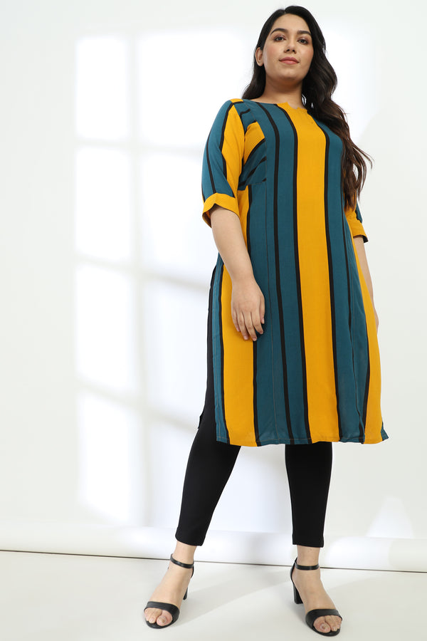 Yellow Teal Stripe Kurta