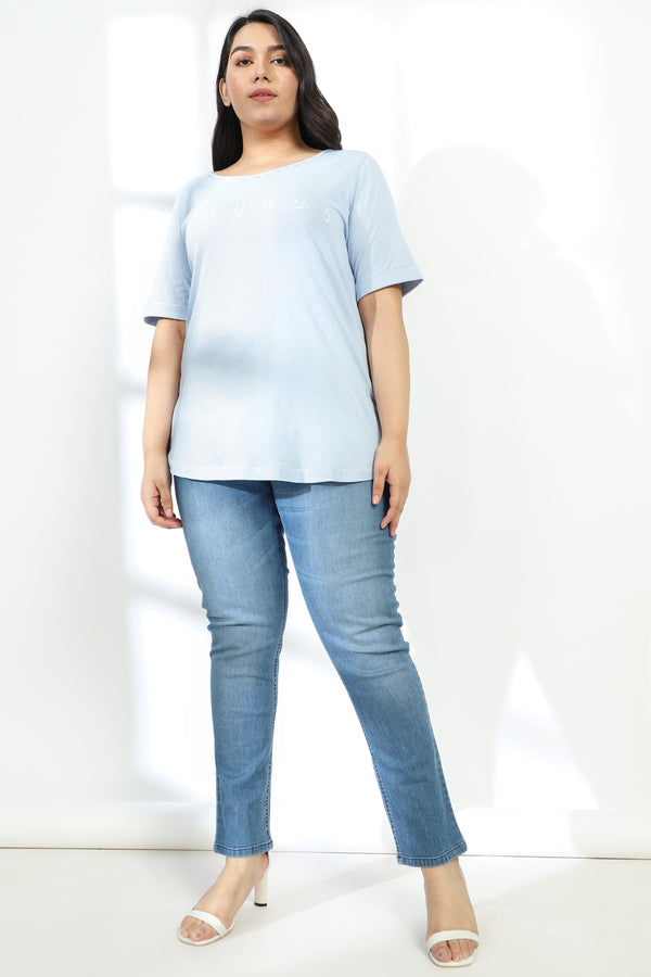 Blue Stripe Embroidered TShirt
