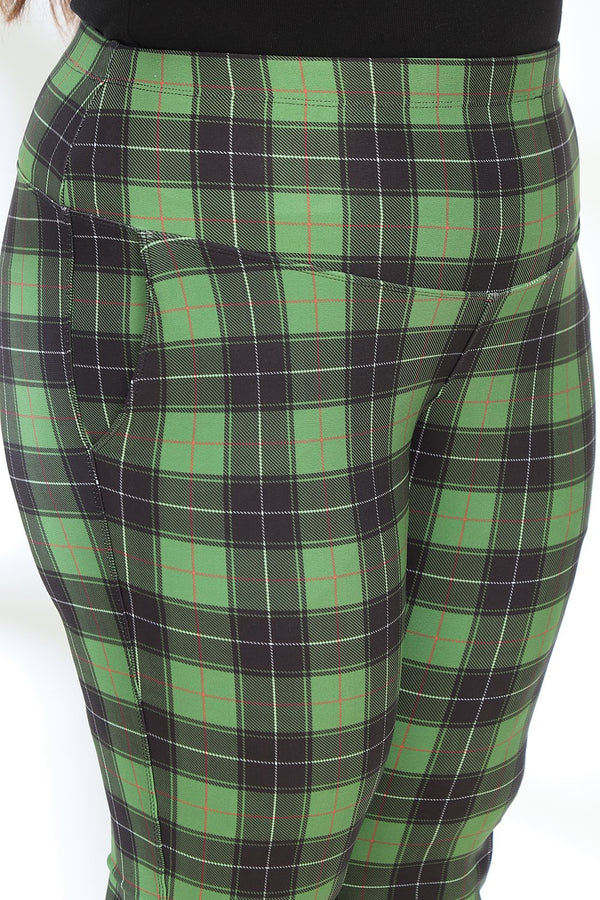 Green Black Check Tummy Shaper Printed Pants