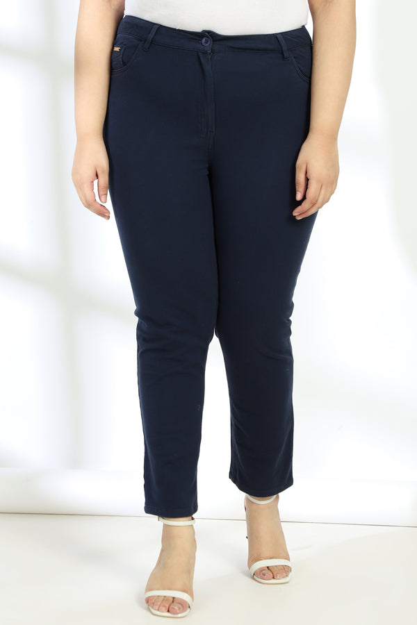 Navy Basic Stretch Pants