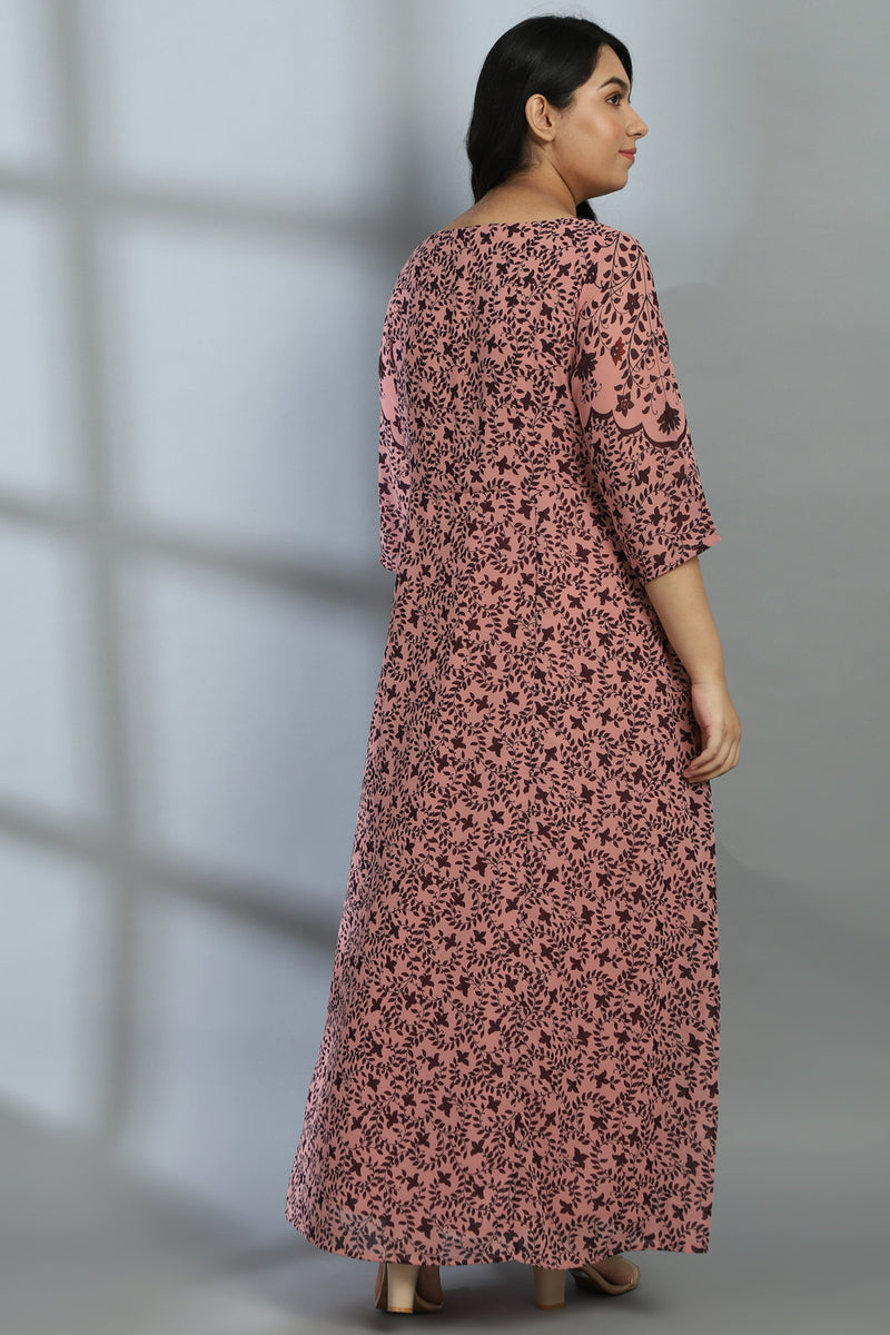Rose Ethnic Leaf Print Dress