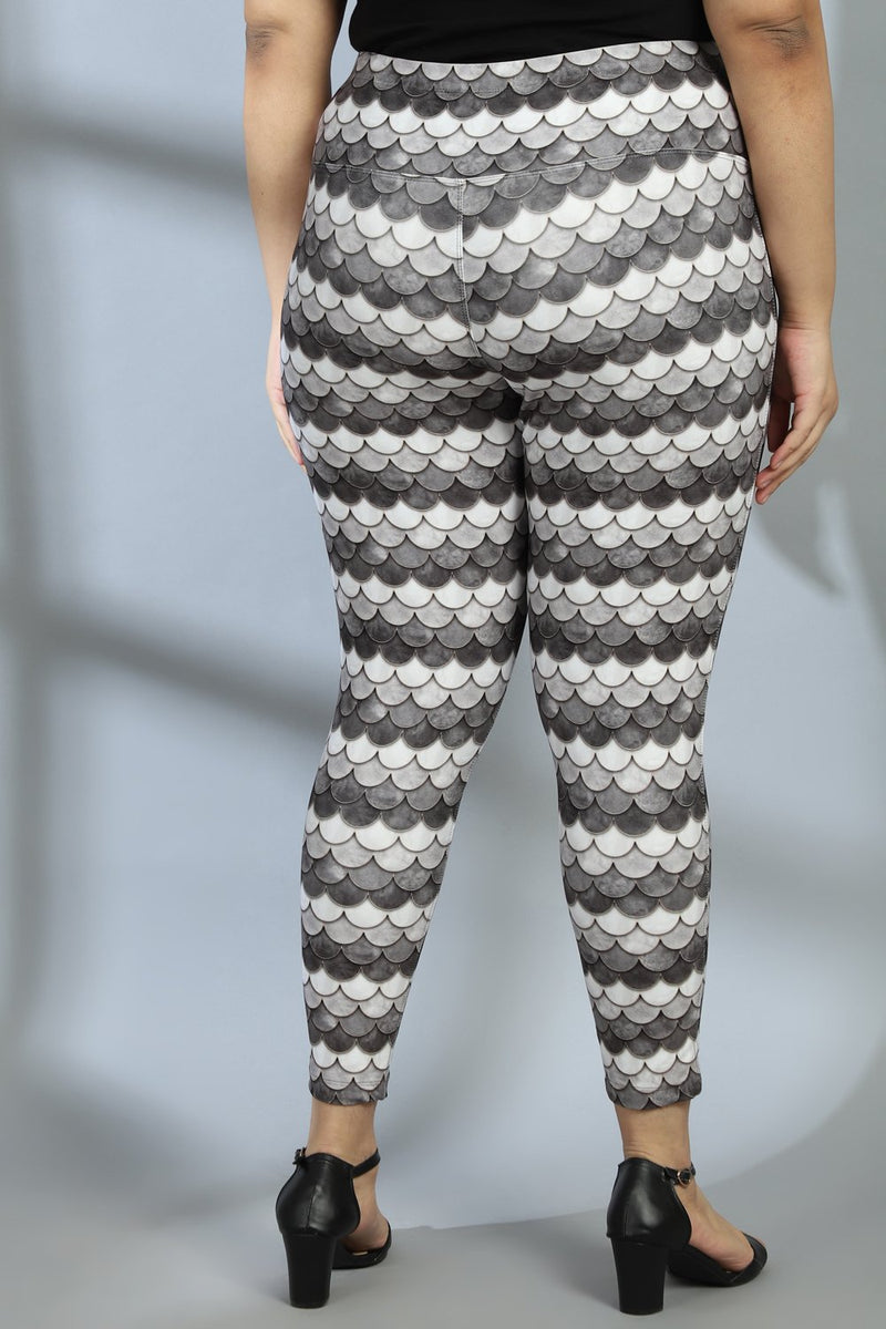 Monochrome Mermaid Tummy Shaper Printed Leggings
