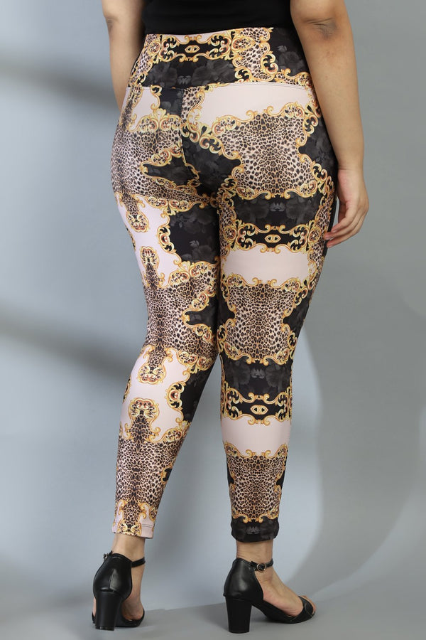 Gold Baroque Tummy Shaper Printed Leggings