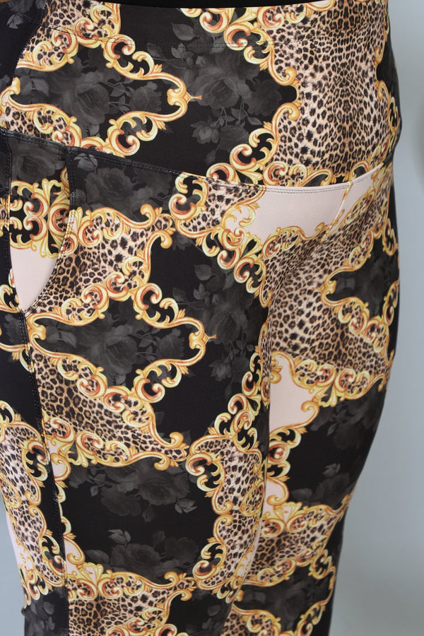 Gold Baroque Tummy Shaper Printed Flare Pants
