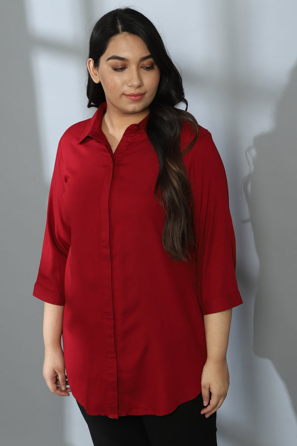 Red Round Hemline Shirt