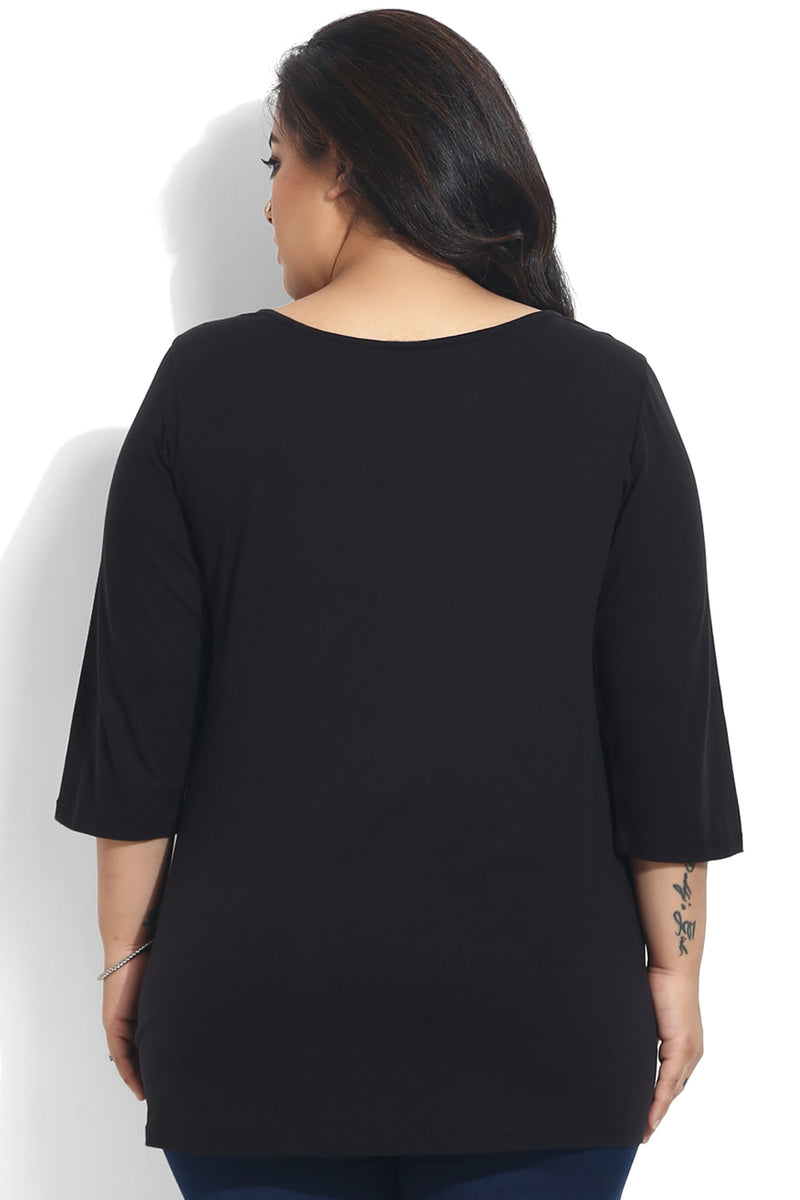 Corset Style Black Basic Top