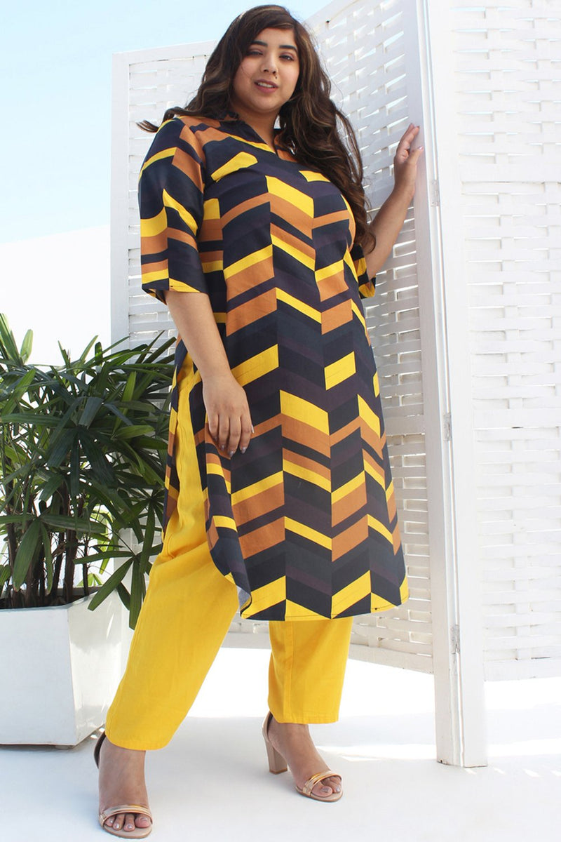 Chevron Play Yellow Brown Printed Kurti