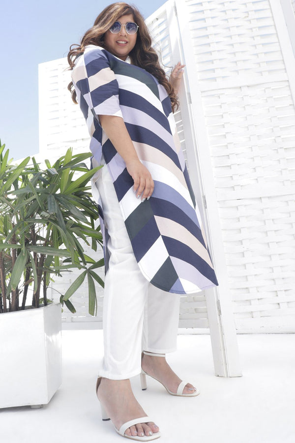 Blue Chevron Play Printed Kurti