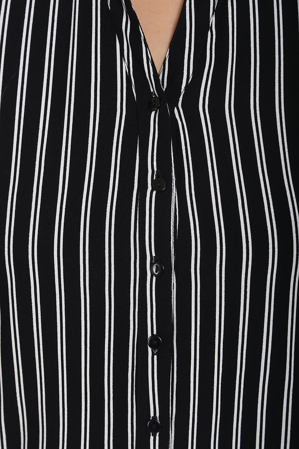 Black White Stripe Button Down Shirt