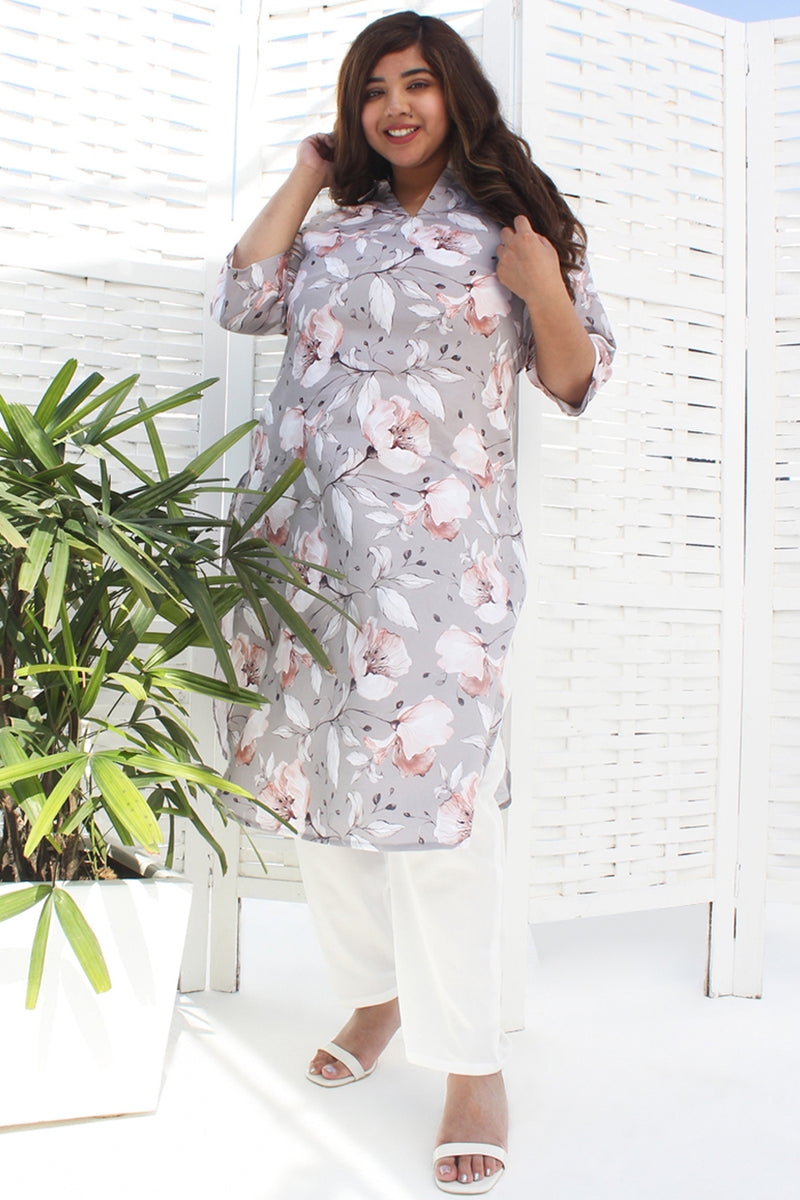 Grey Floral Canva Printed Kurti