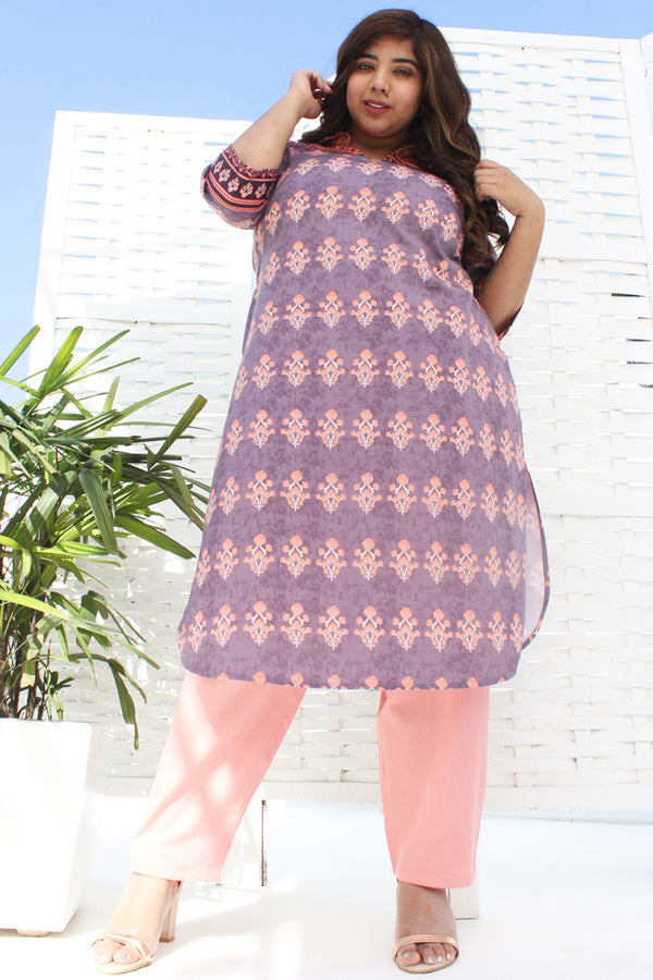 Purple & Salmon Printed Kurti