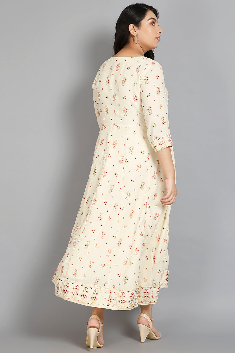Cream Print Yoke Embroidery Anarkali