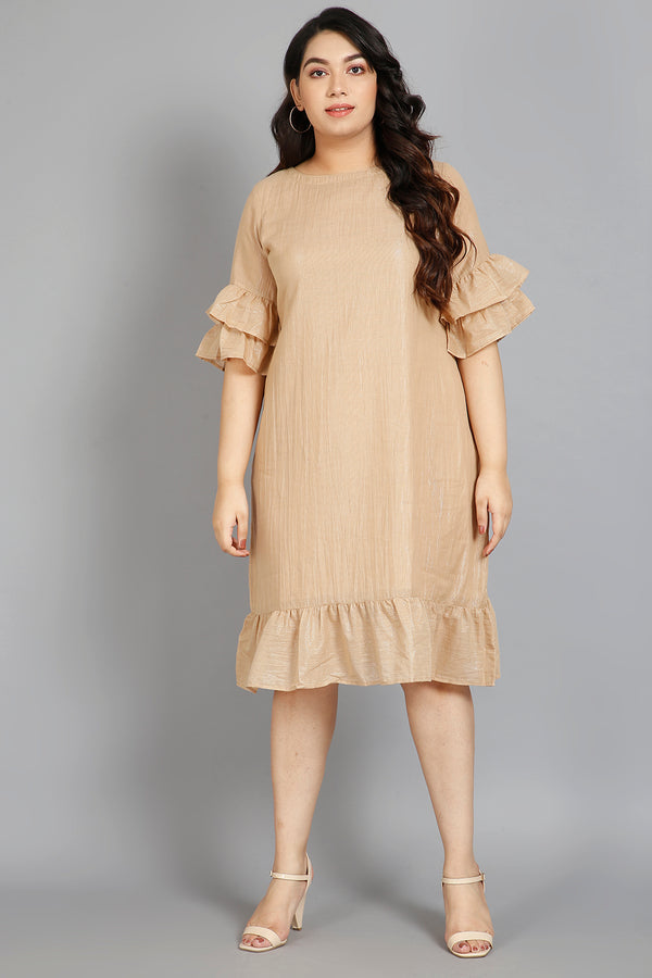 Gold Stripe Detail Flounce Sleeve Dress