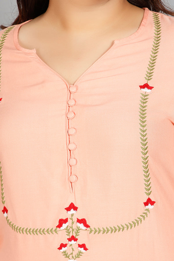 Peach Yoke Embroidery Ankle Length Kurti