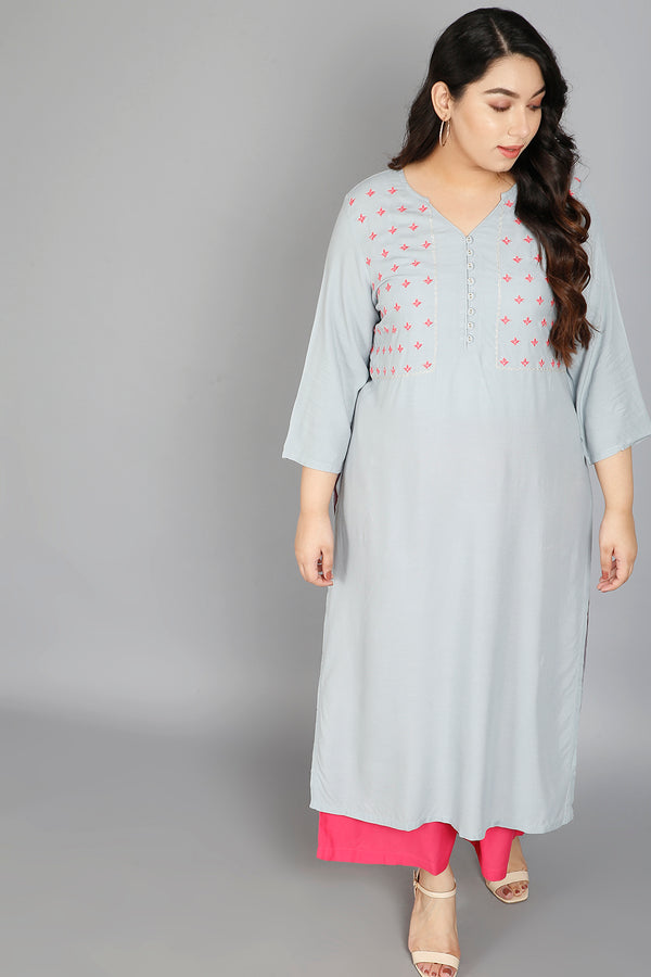 Ice Blue Yoke Embroidery Ankle Length Kurti