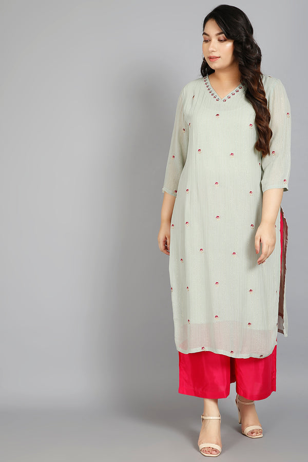 Neck Embroidery Menthe Kurti