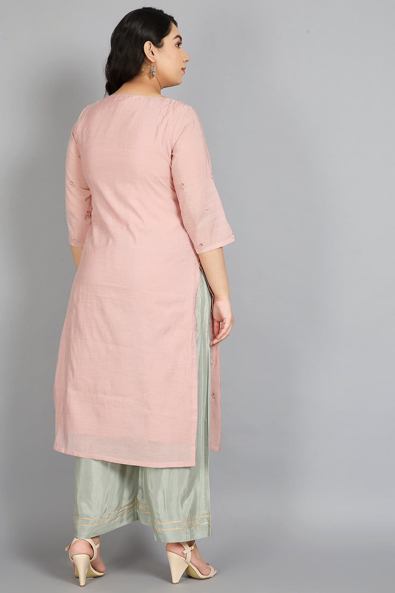 Apricot Pink & Green Overall Embroidery Three Piece Suit Set