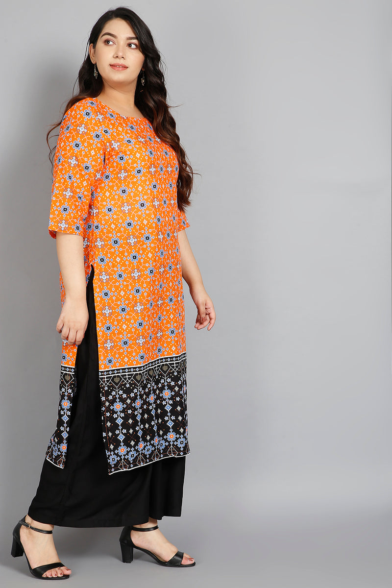 Orange Black Border Printed Kurti