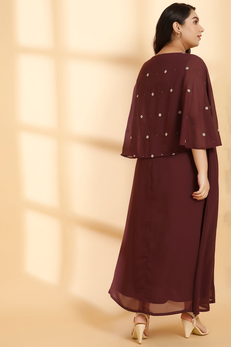 Plum Embroidered Flared Sleeve Gown
