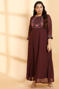 Yoke Neck Embroidery Plum Gown