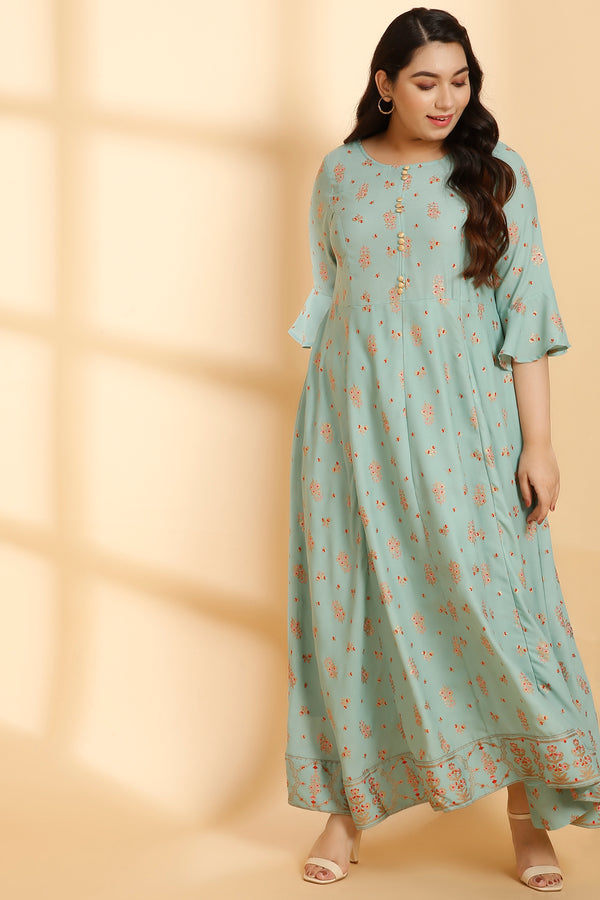 Menthe Printed Festive Gown