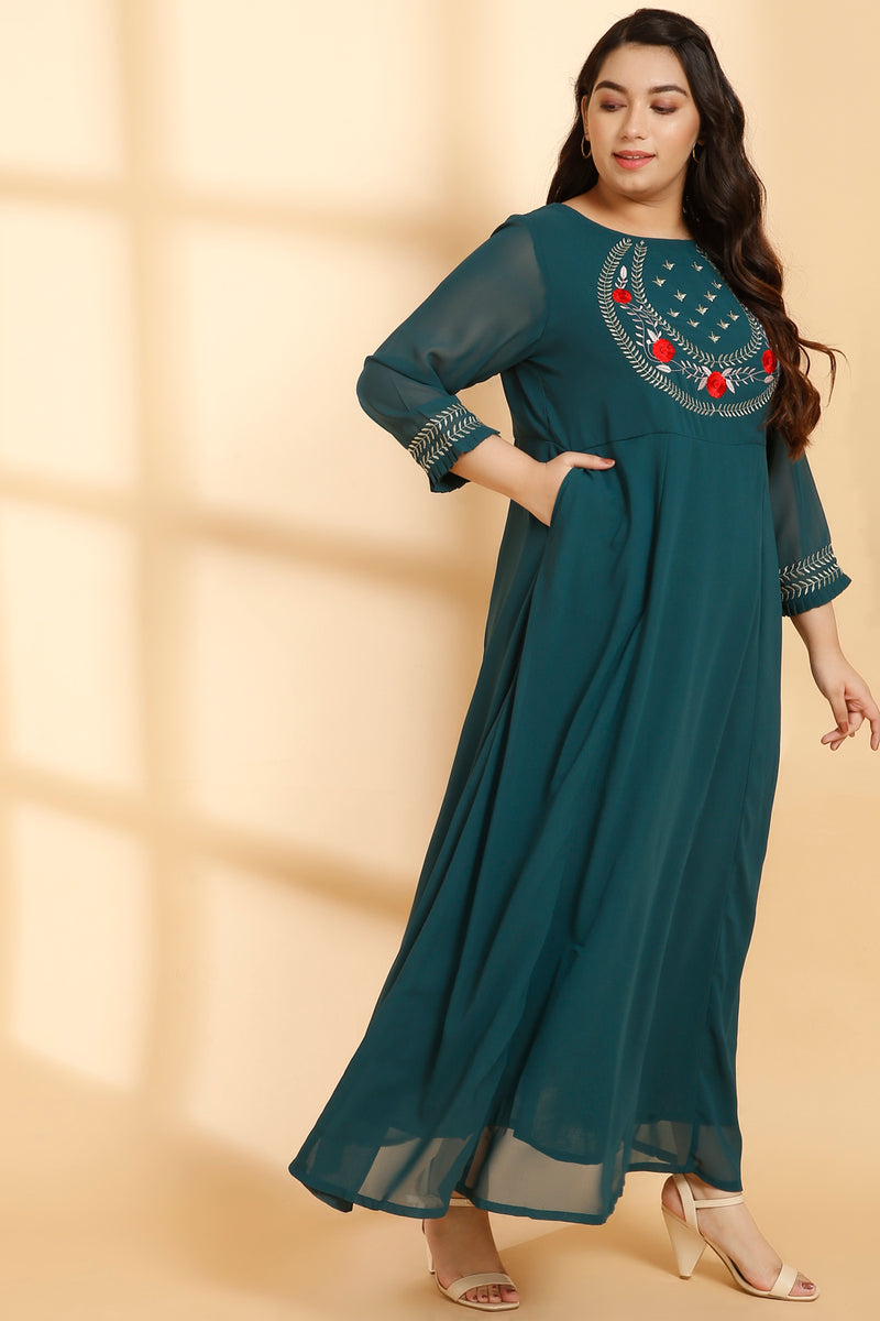 Embroidered Yoke Emerald Green Gown