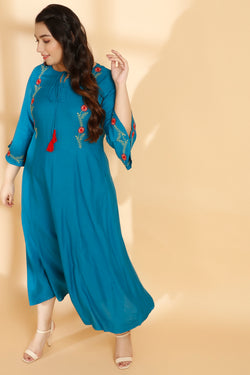 Dark Turquoise Bell Sleeves A Line Dress