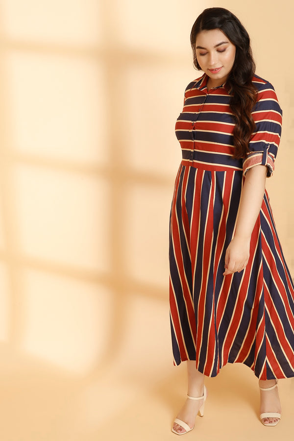 Navy Red Stripe Full Length Dress