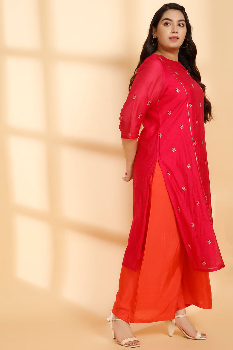 Persian Pink & Poppy Overall Embroidery Three Piece Suit Set