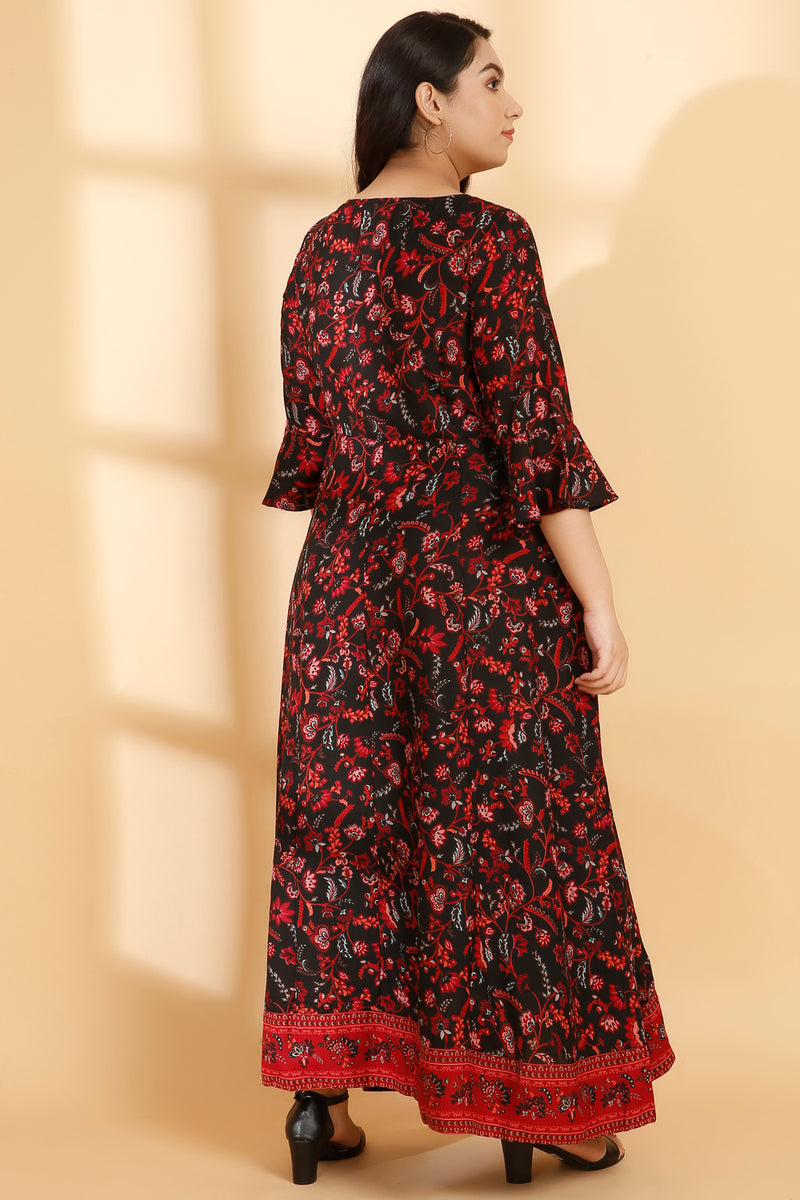 Black Pink Overall Printed Festive Gown