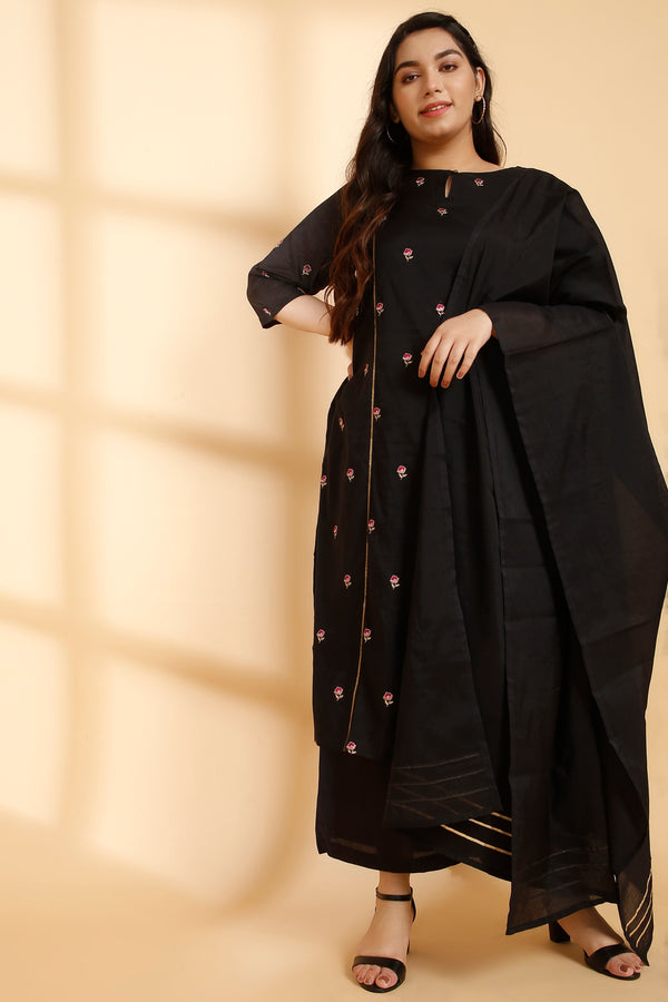 Black Overall Embroidery Three Piece Suit Set