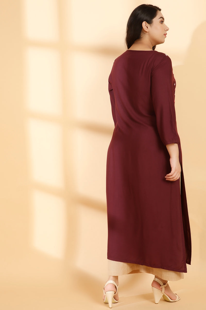 Plum Yoke Embroidery Ankle Length Kurti