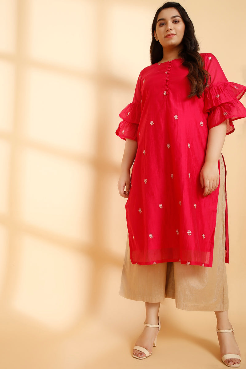 Persian Chanderi Boota Embroidery Frill Sleeve Kurti